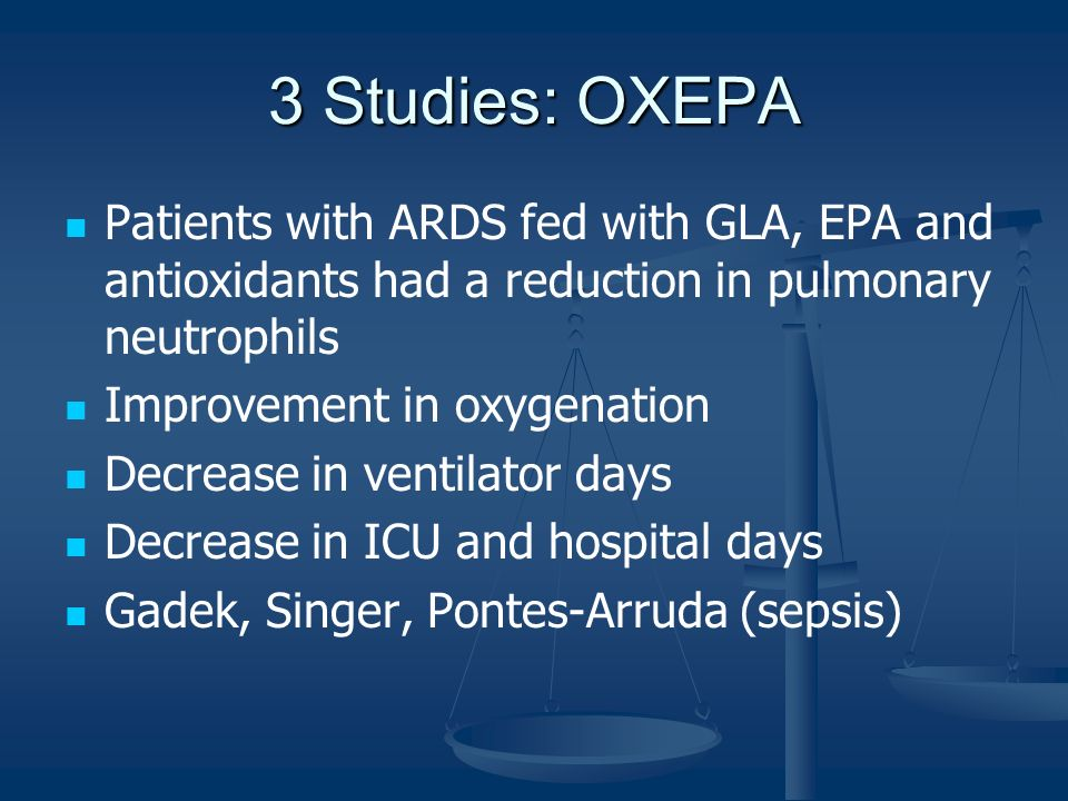 3 Studies: OXEPA Patients with ARDS fed with GLA, EPA and antioxidants had a reduction in pulmonary neutrophils.