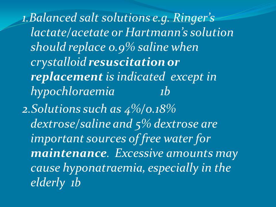 1. Balanced salt solutions e. g