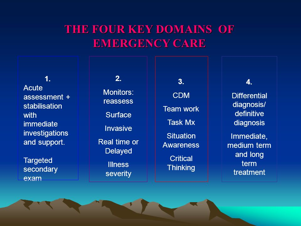 THE FOUR KEY DOMAINS OF EMERGENCY CARE