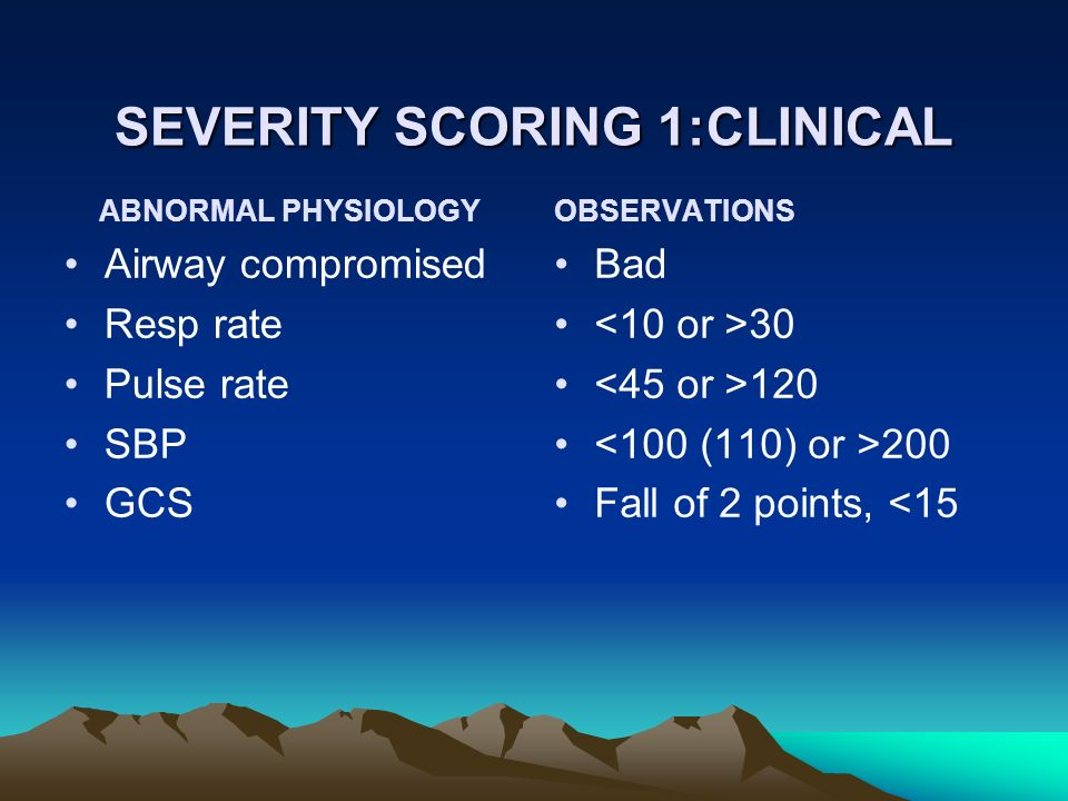 SEVERITY SCORING 1:CLINICAL