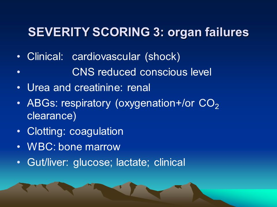 SEVERITY SCORING 3: organ failures