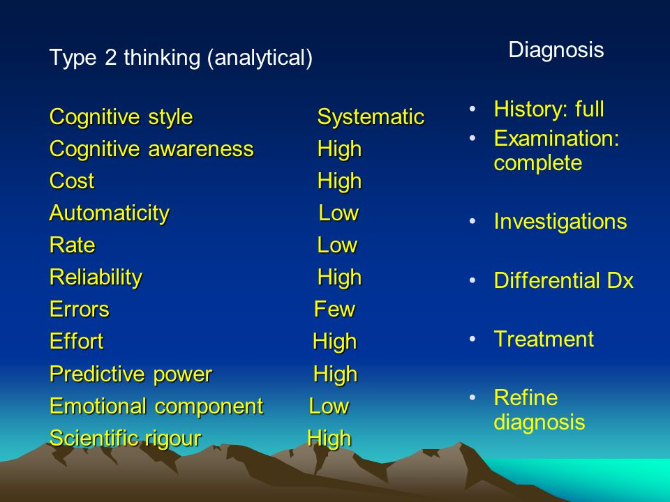 Type 2 thinking (analytical) Cognitive style Systematic