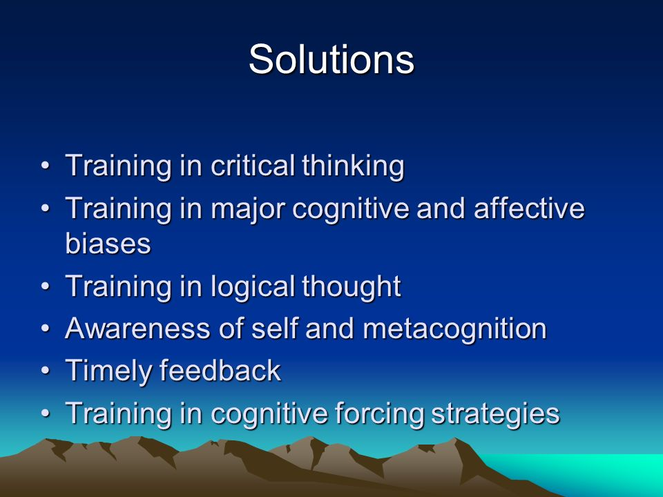 Solutions Training in critical thinking
