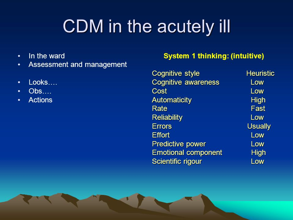 System 1 thinking: (intuitive)