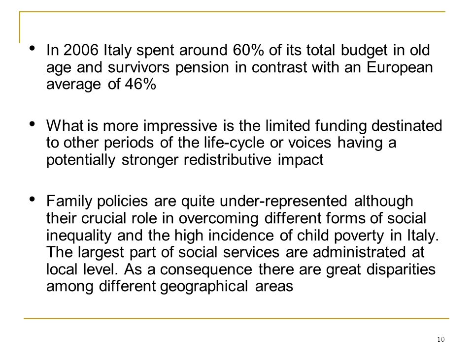 In 2006 Italy spent around 60% of its total budget in old age and survivors pension in contrast with an European average of 46%