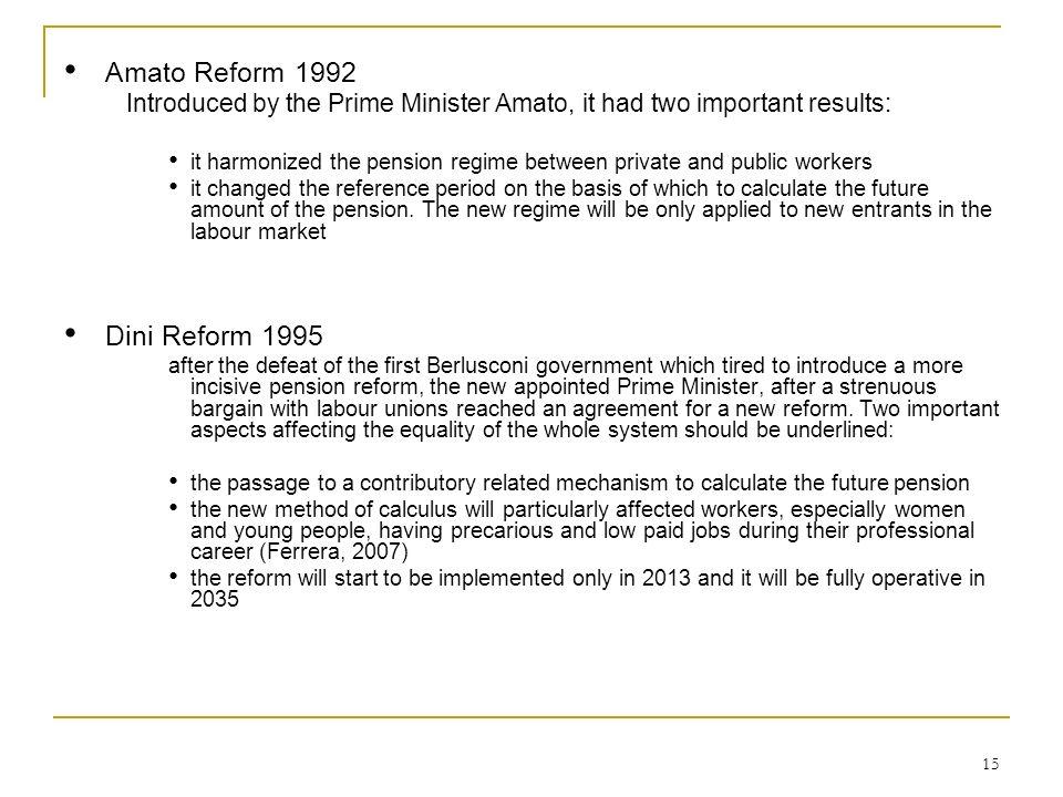 Amato Reform 1992 Dini Reform 1995