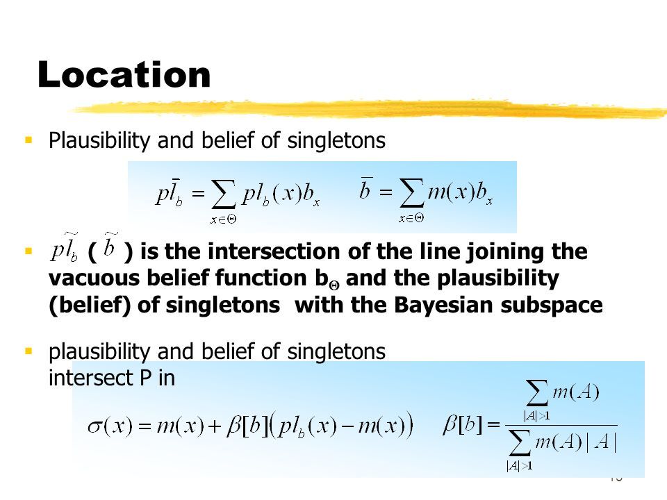 Location Plausibility and belief of singletons