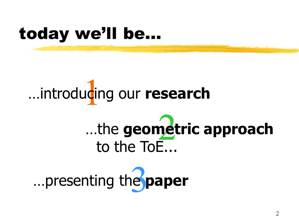 1 2 3 today we'll be… …introducing our research