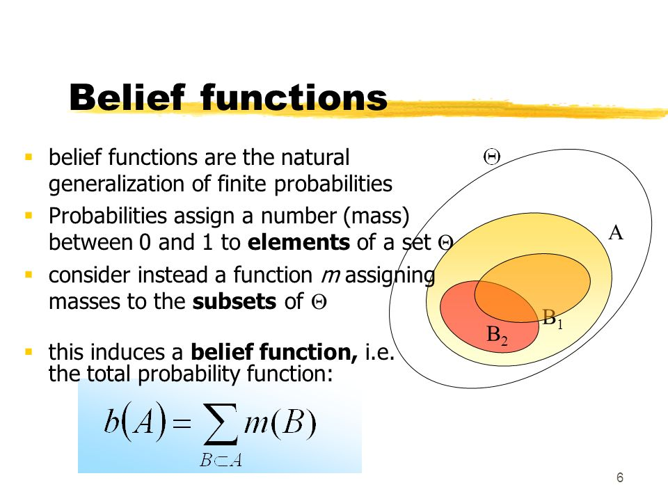 3/28/2017 Belief functions. belief functions are the natural generalization of finite probabilities.
