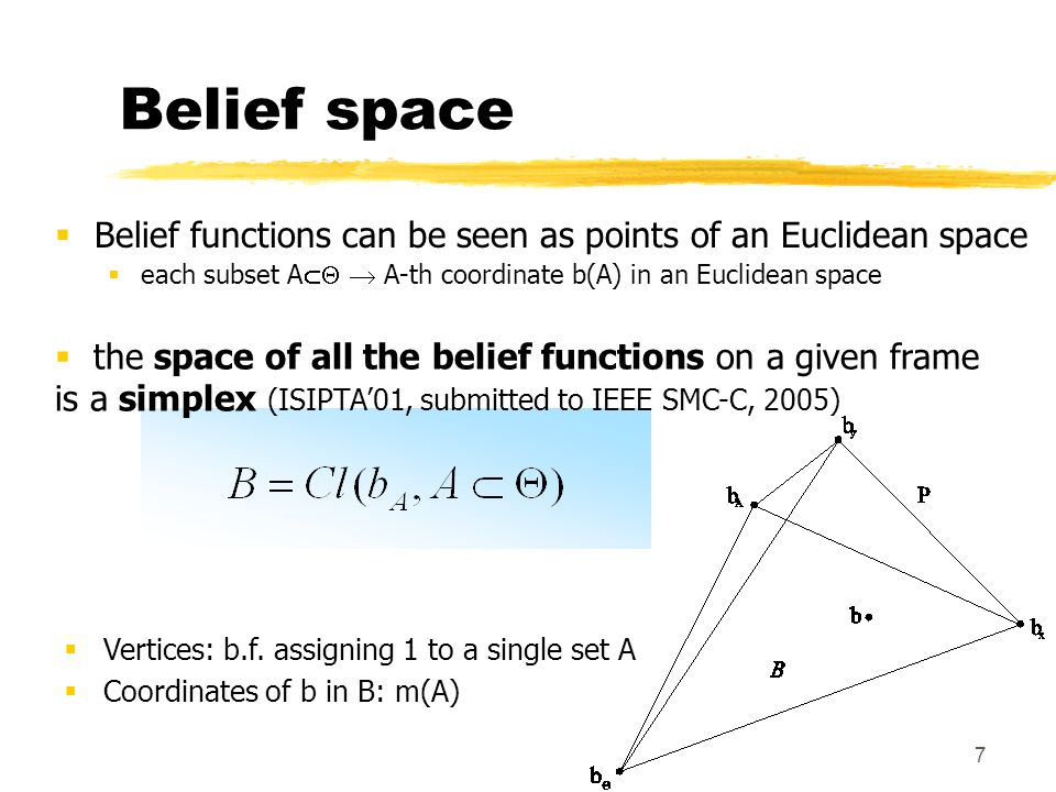 3/28/2017 Belief space. Belief functions can be seen as points of an Euclidean space. each subset A  A-th coordinate b(A) in an Euclidean space.