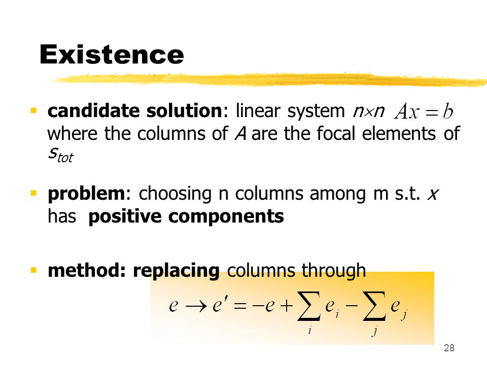 Existence candidate solution: linear system nn