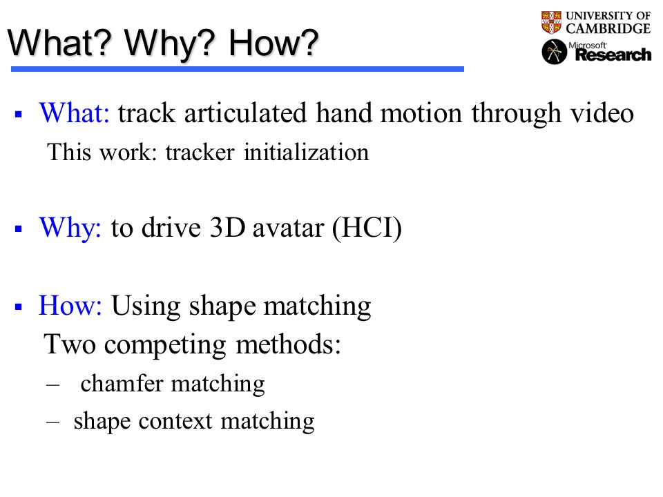 What Why How What: track articulated hand motion through video