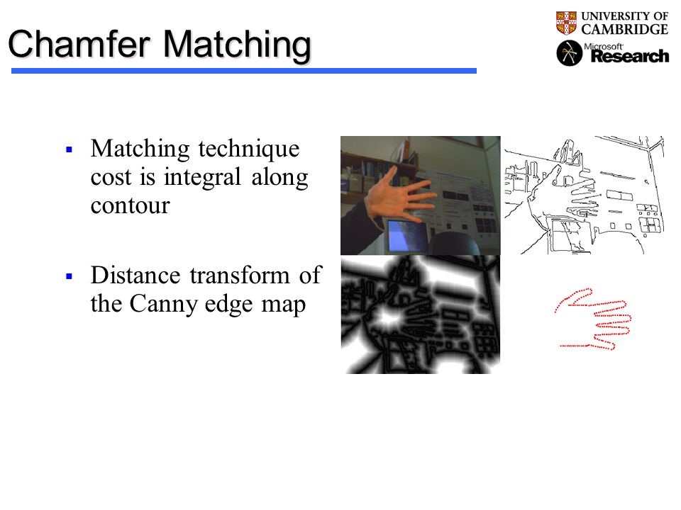 Chamfer Matching Matching technique cost is integral along contour