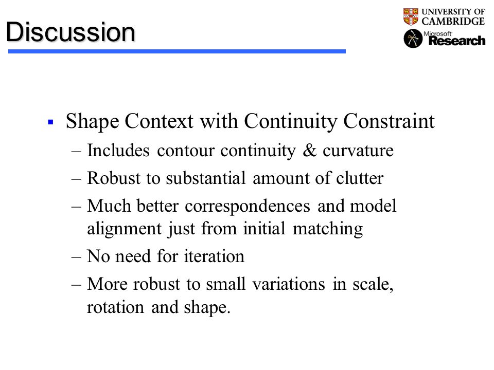 Discussion Shape Context with Continuity Constraint