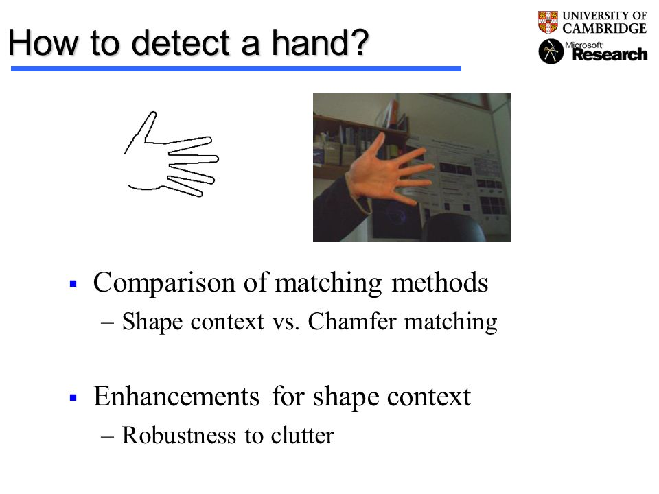 How to detect a hand Comparison of matching methods
