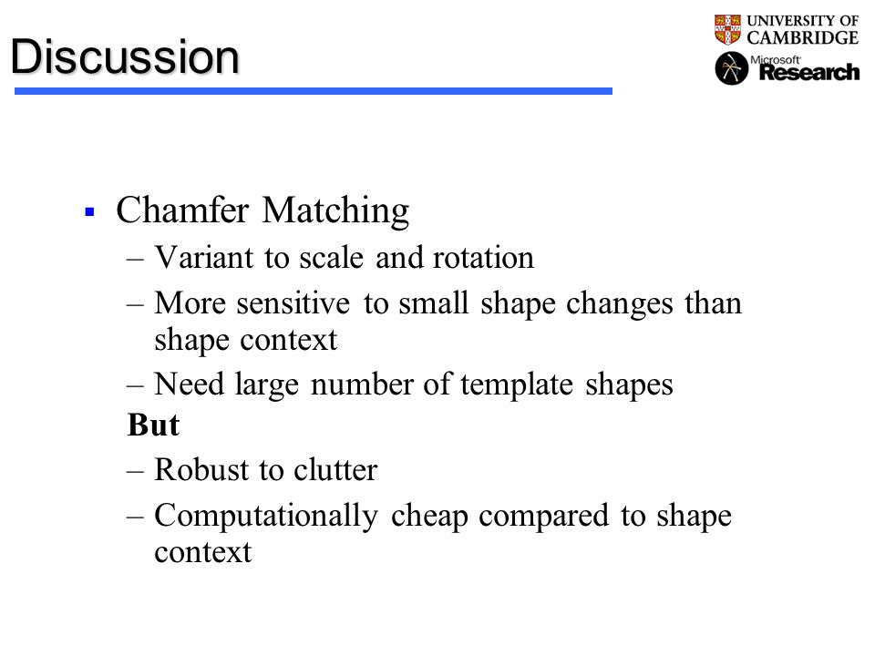 Discussion Chamfer Matching Variant to scale and rotation