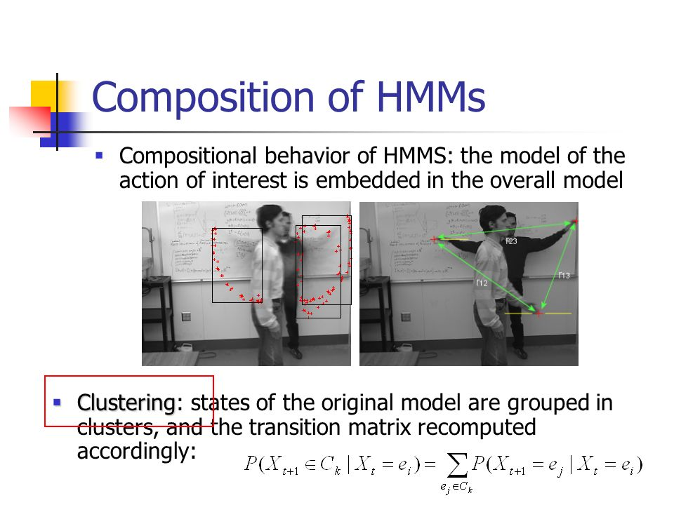 Composition of HMMs Compositional behavior of HMMS: the model of the action of interest is embedded in the overall model.
