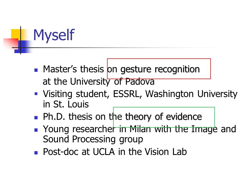 Myself Master's thesis on gesture recognition