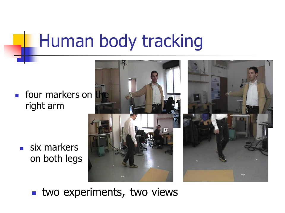 Human body tracking two experiments, two views