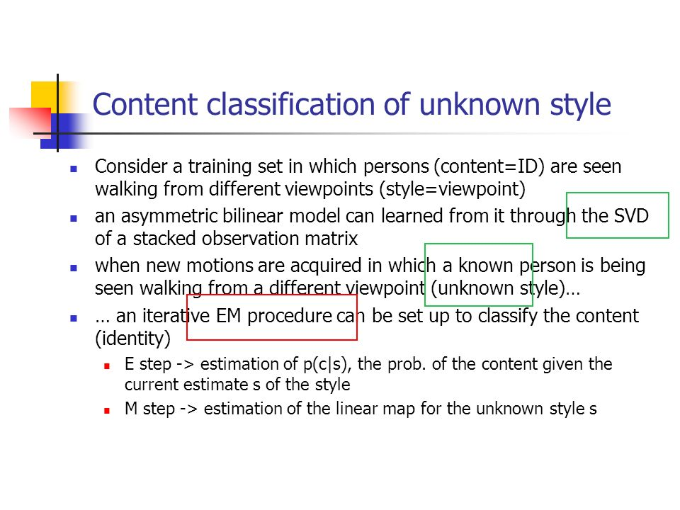 Content classification of unknown style