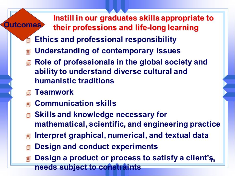 Instill in our graduates skills appropriate to their professions and life-long learning