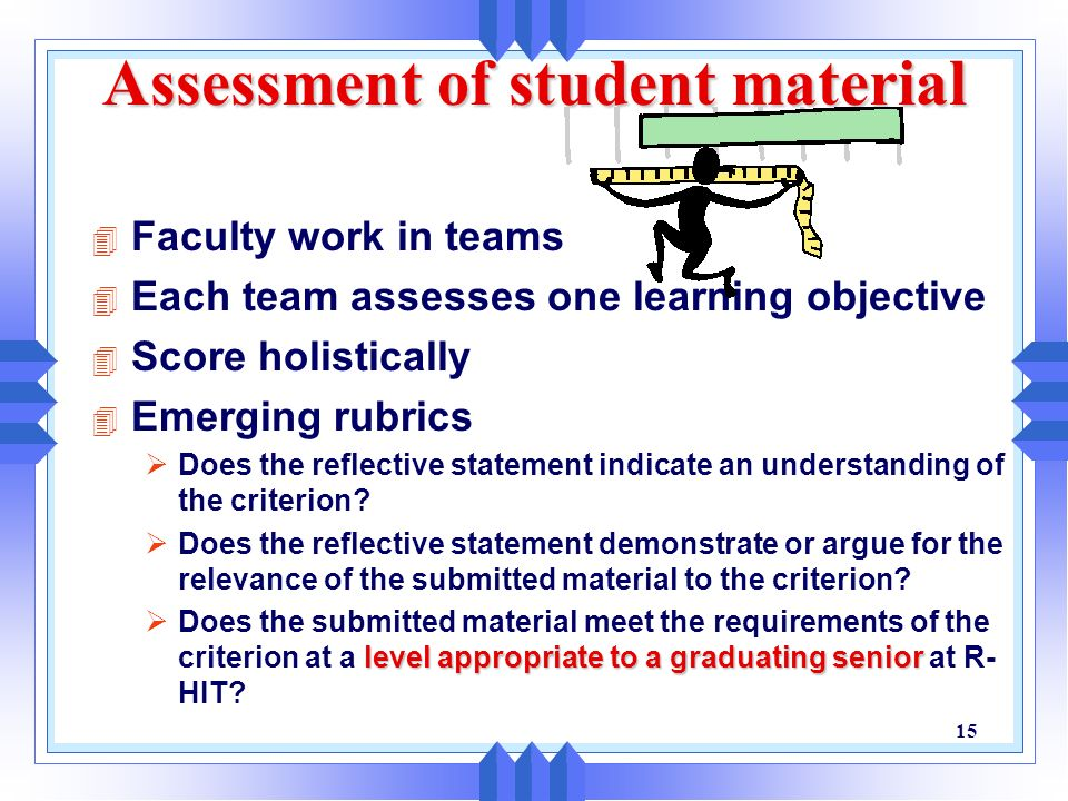 Assessment of student material