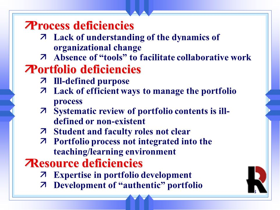 Portfolio deficiencies