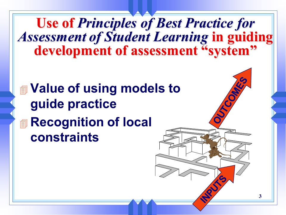 Use of Principles of Best Practice for Assessment of Student Learning in guiding development of assessment system