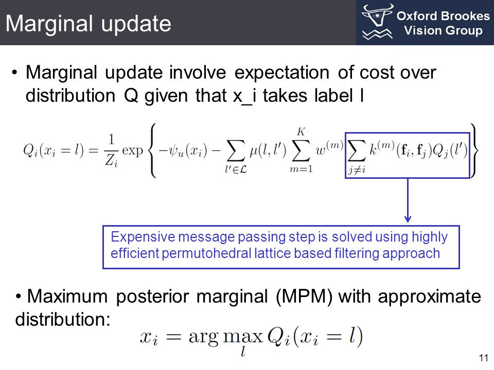 Marginal update Marginal update involve expectation of cost over distribution Q given that x_i takes label l.