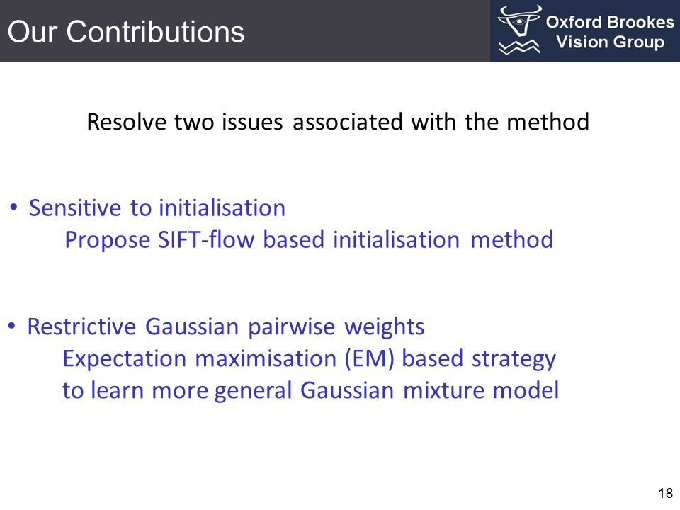 Our Contributions Resolve two issues associated with the method