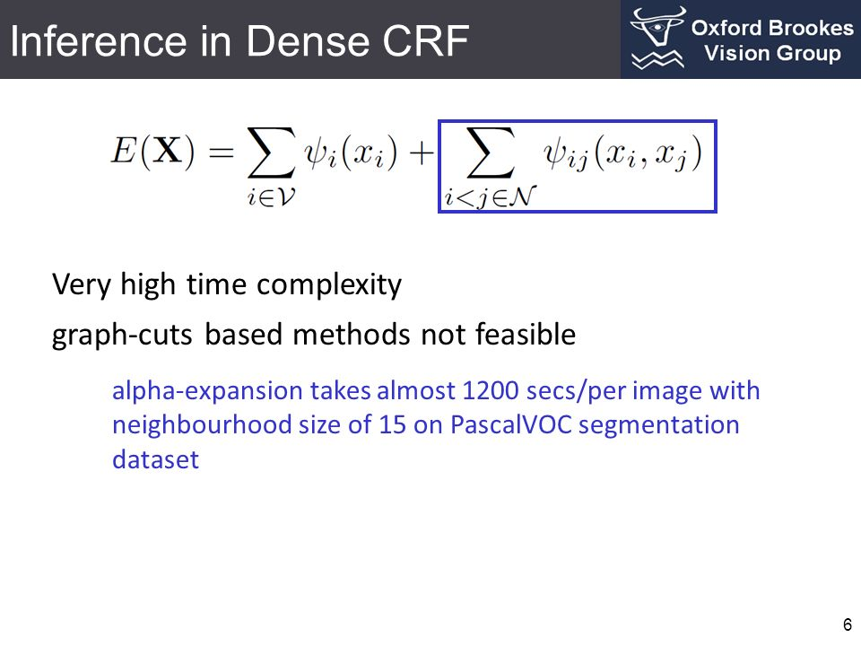 Inference in Dense CRF Very high time complexity