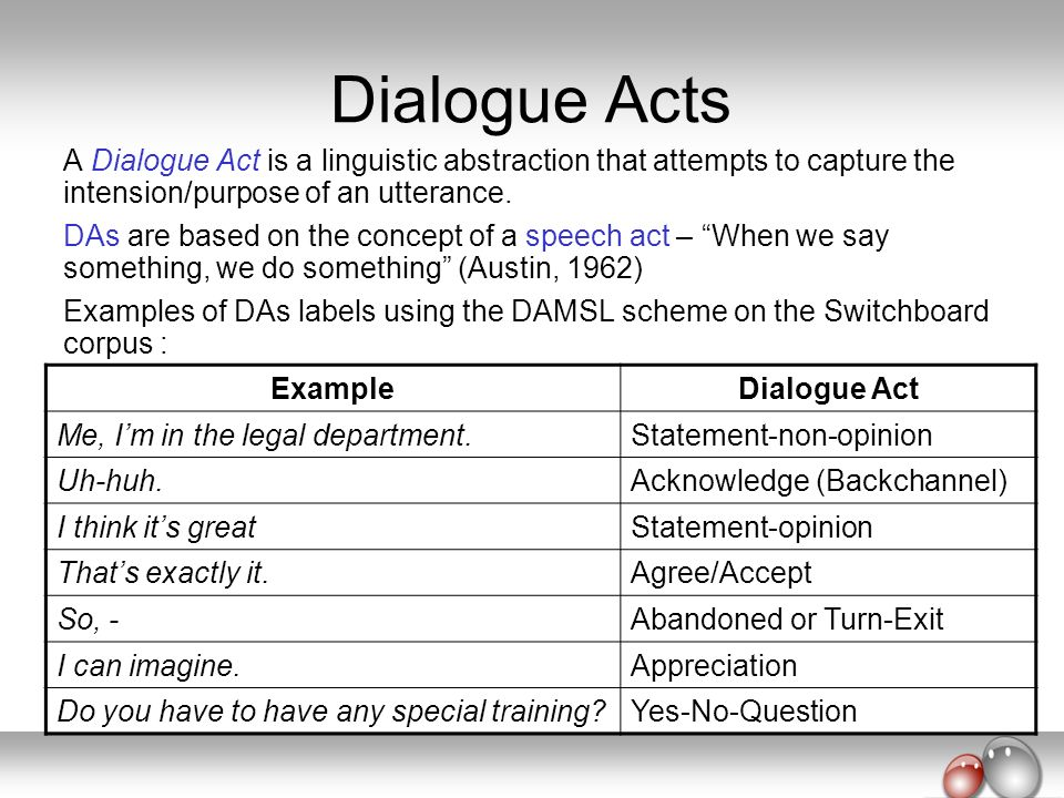 Dialogue Acts A Dialogue Act is a linguistic abstraction that attempts to capture the intension/purpose of an utterance.