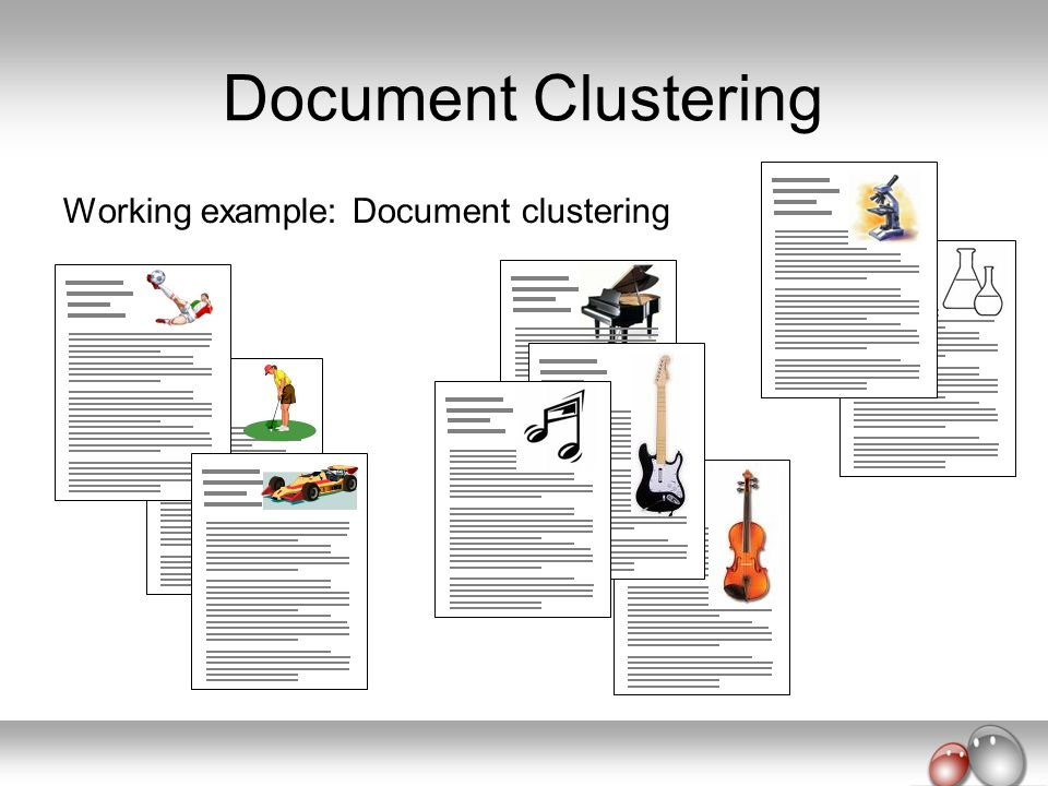 Document Clustering Working example: Document clustering