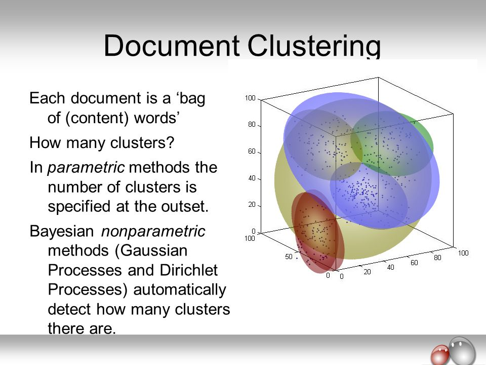 Document Clustering Each document is a 'bag of (content) words'