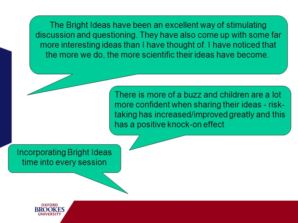 Incorporating Bright Ideas time into every session