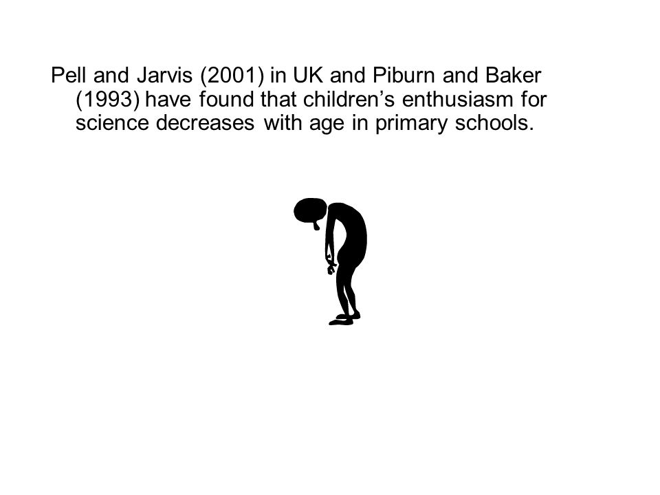 Pell and Jarvis (2001) in UK and Piburn and Baker (1993) have found that children's enthusiasm for science decreases with age in primary schools.