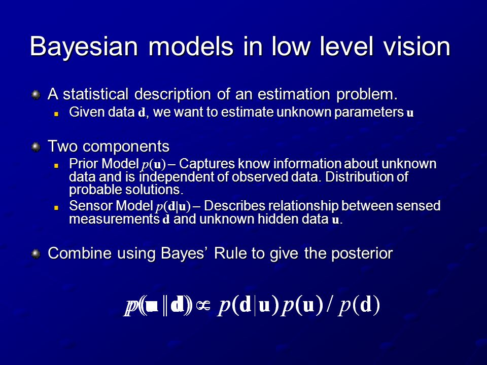 Bayesian models in low level vision