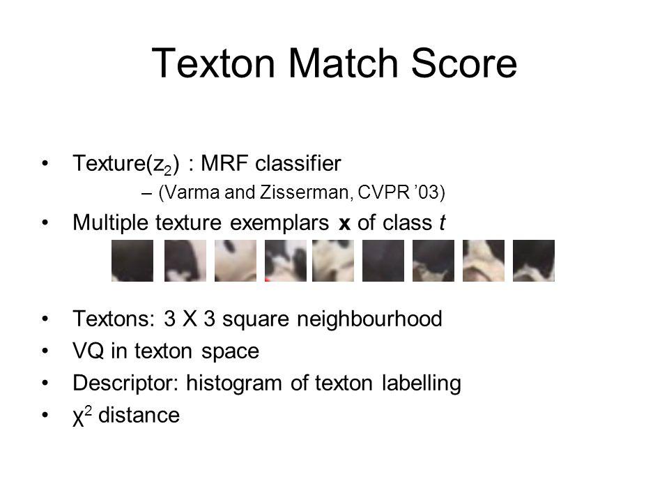 Texton Match Score Texture(z2) : MRF classifier