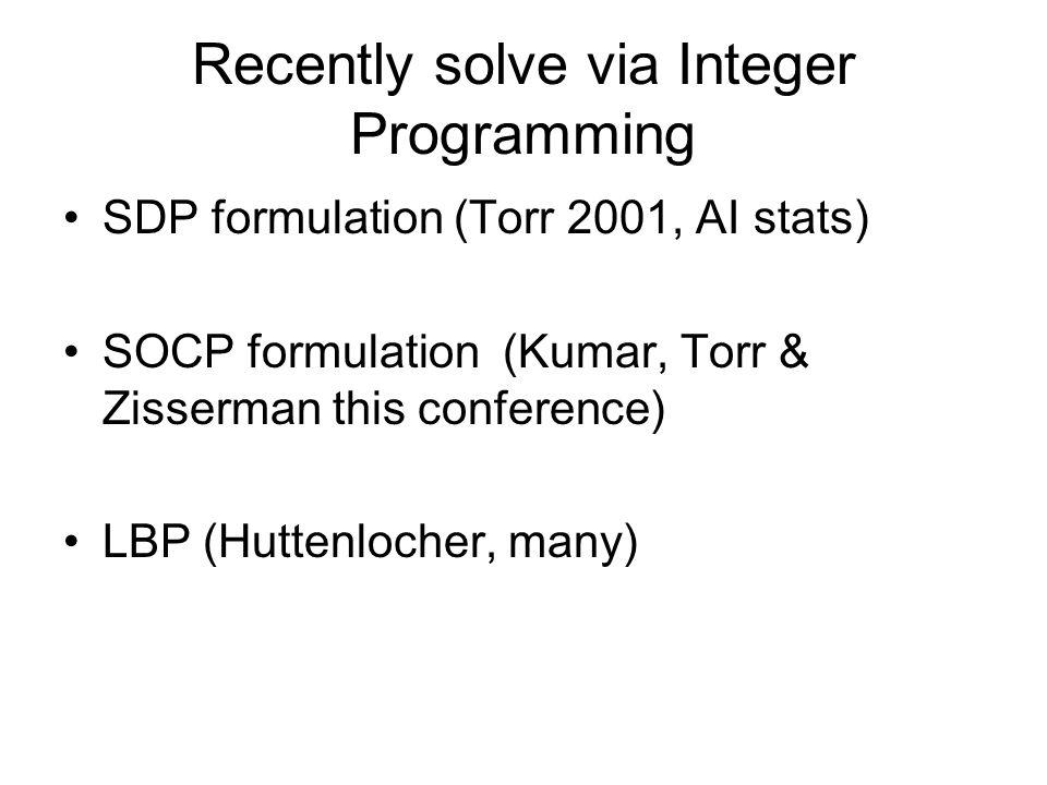 Recently solve via Integer Programming