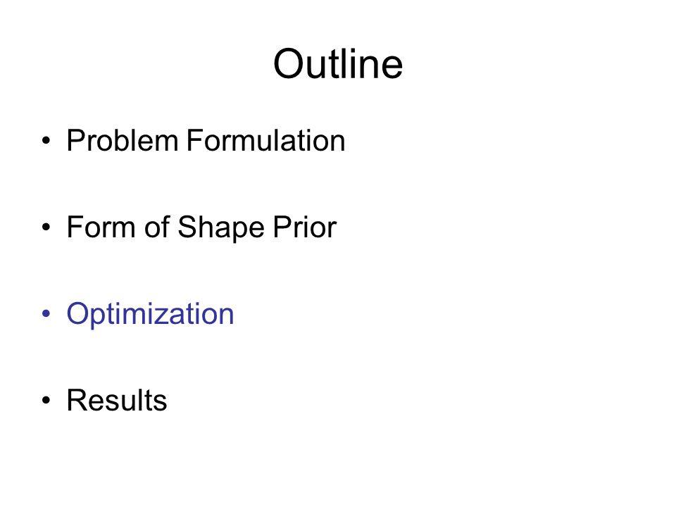 Outline Problem Formulation Form of Shape Prior Optimization Results