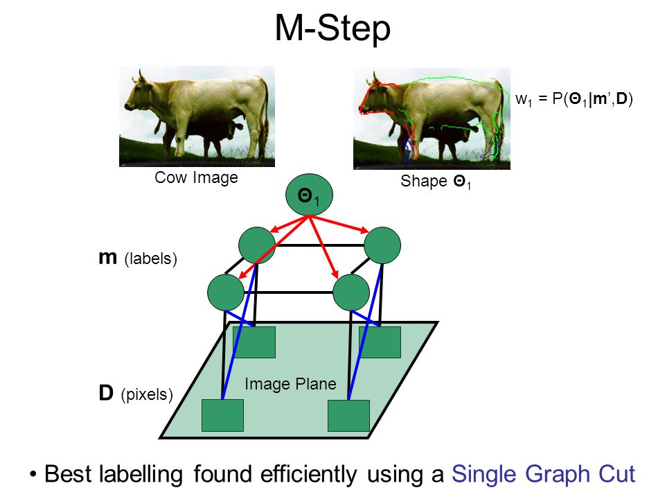 M-Step Best labelling found efficiently using a Single Graph Cut