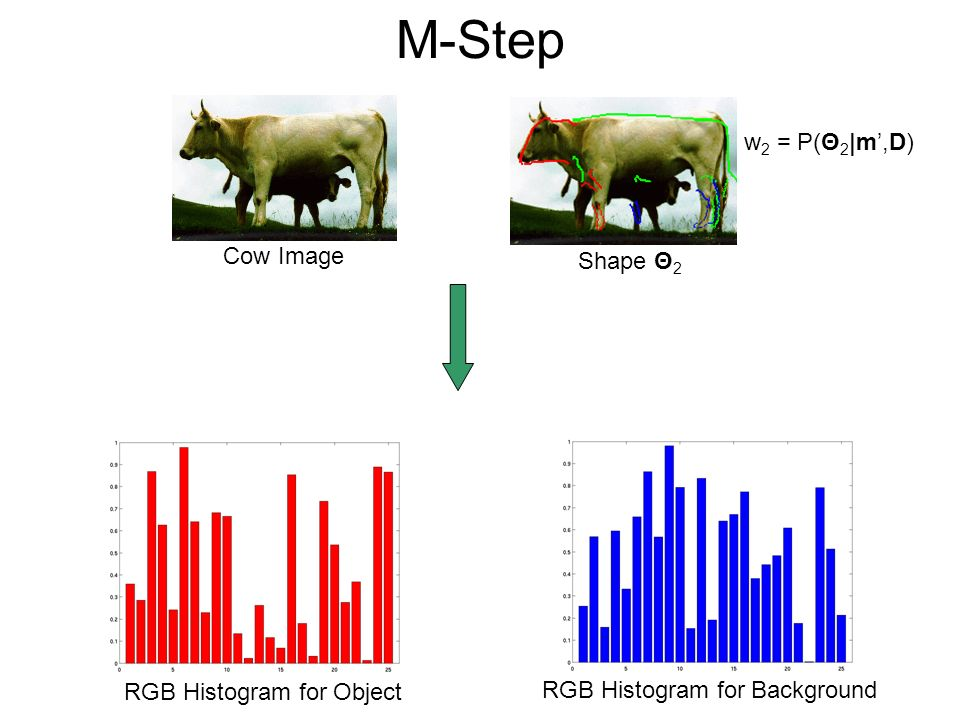 M-Step w2 = P(Θ2|m',D) Cow Image Shape Θ2 RGB Histogram for Object