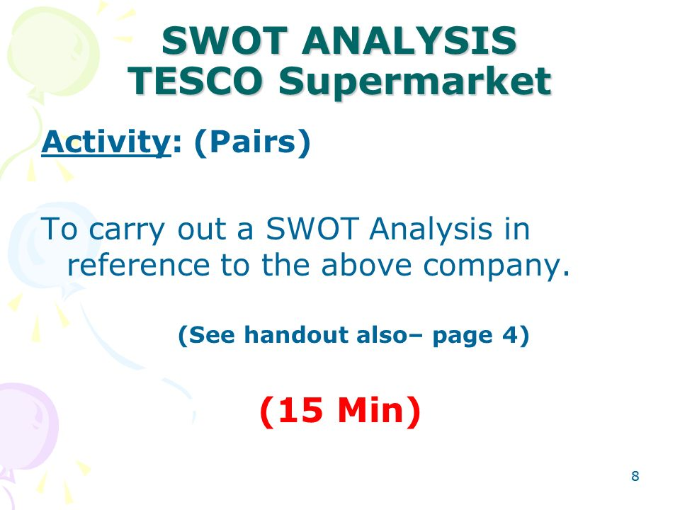 swot analysis of tesco 2012 Here is the swot analysis of tesco corporation which designs, produces and assembles technology based services in the upstream energy industry tesco serves a wide.