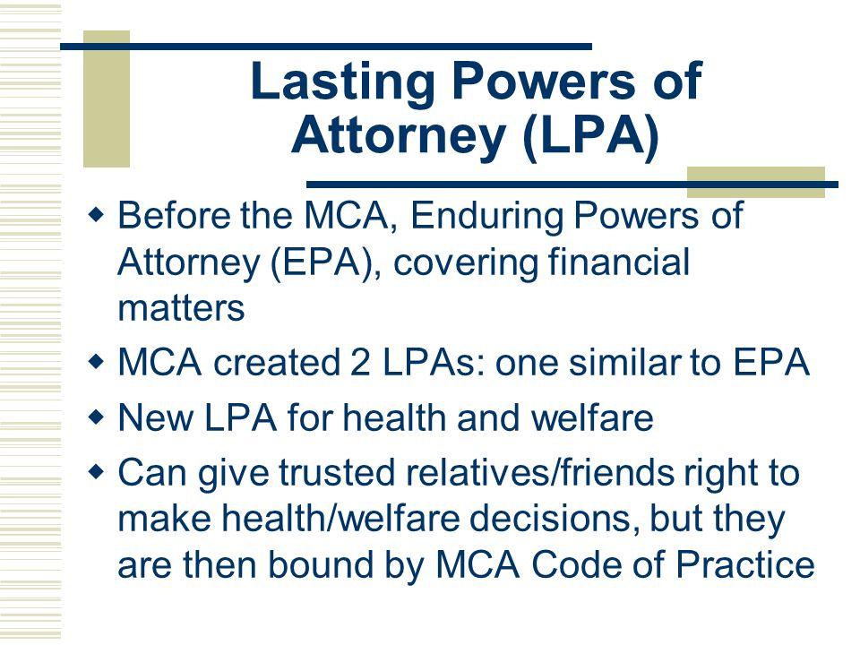 Lasting Powers of Attorney (LPA)