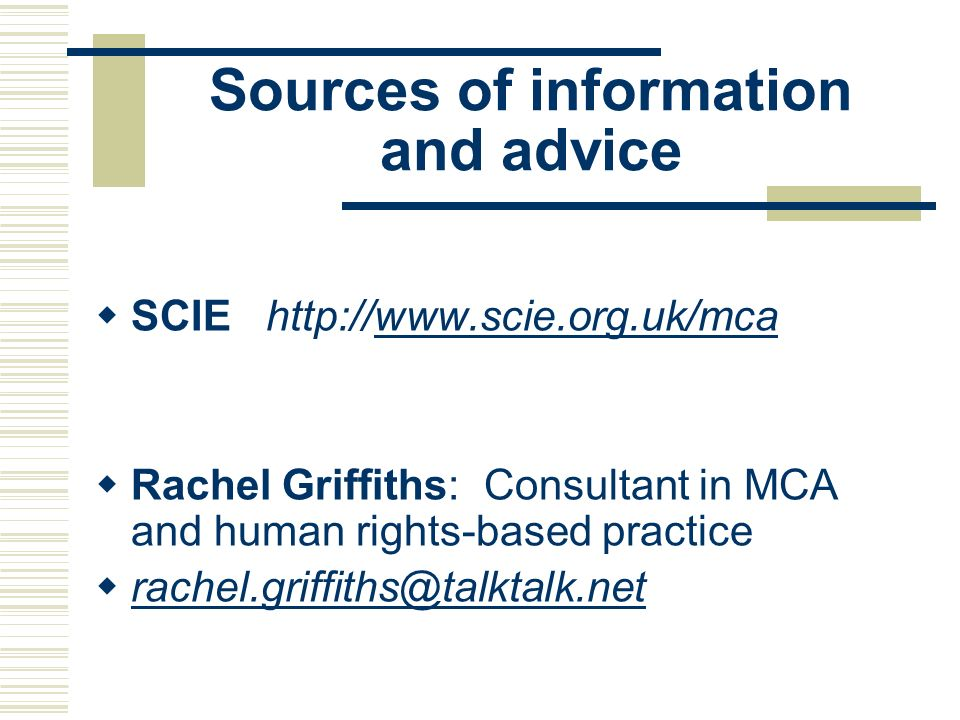 Sources of information and advice