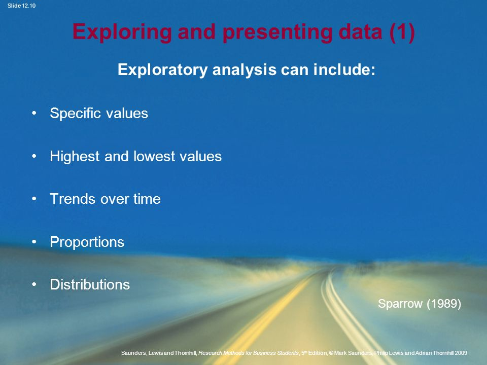 Exploring and presenting data (1)