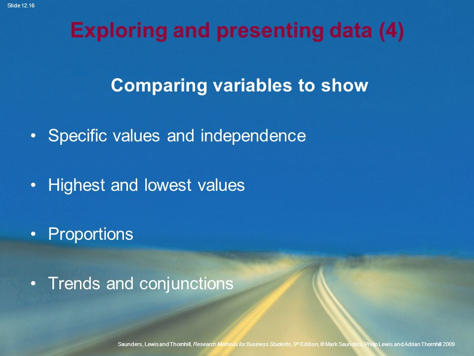 Exploring and presenting data (4)