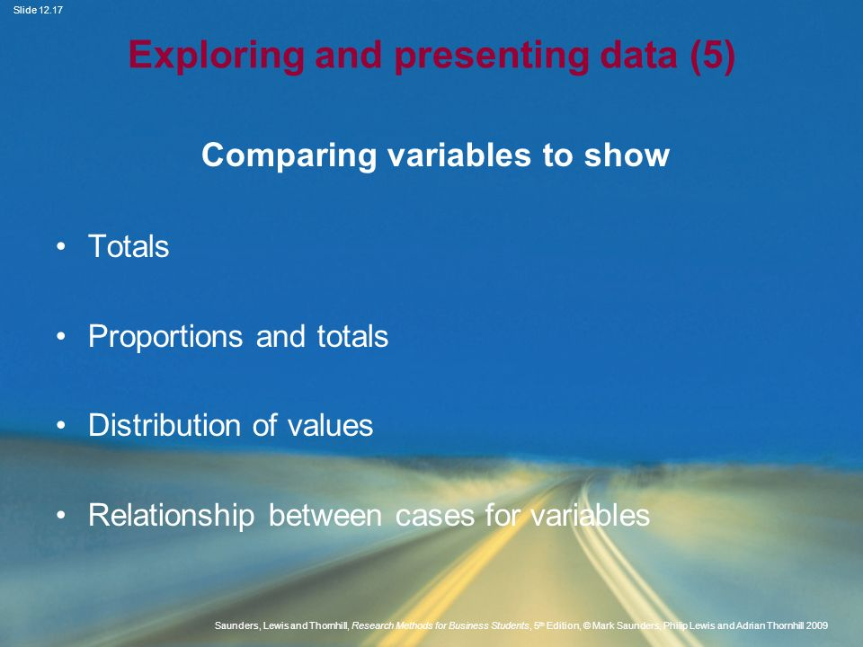Exploring and presenting data (5)