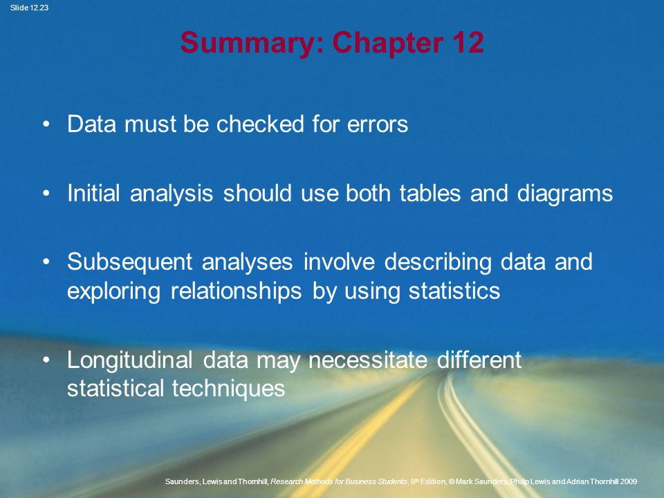 Summary: Chapter 12 Data must be checked for errors