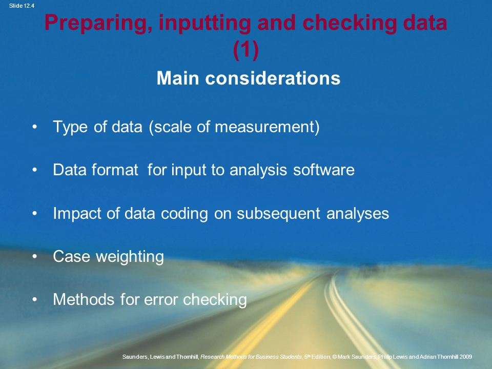 Preparing, inputting and checking data (1)